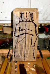 Ruwe schets op lindehout van ca. 25 cm