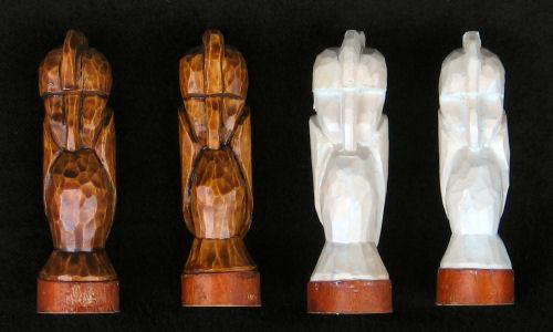 De pionnen schaakspel houtsnijwerk